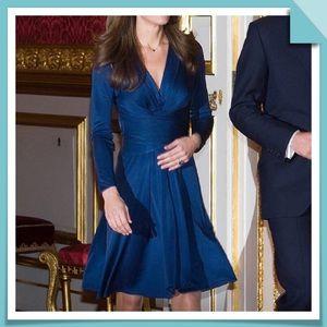 ISSA London Blue Silk Faux Wrap Kate Dress Size 6